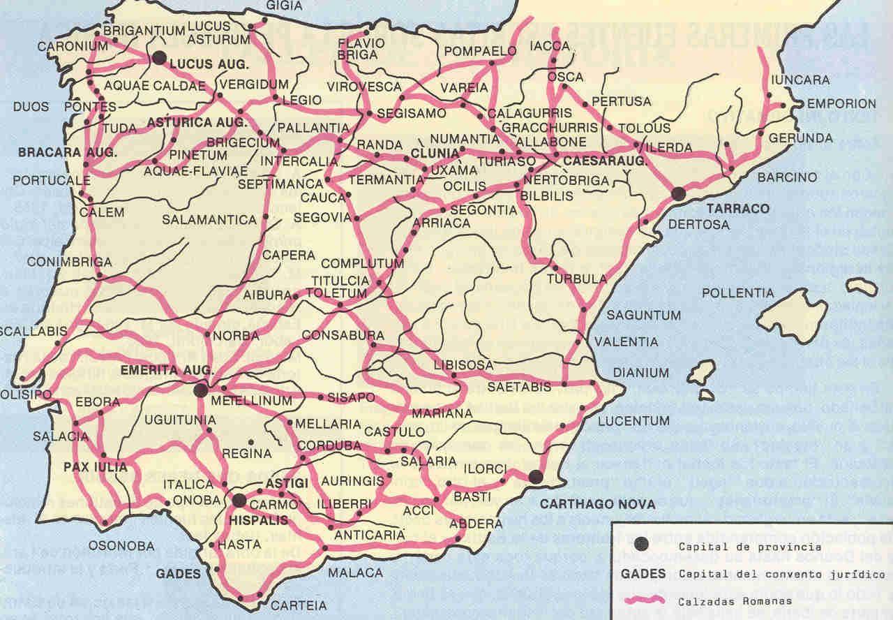 Calzadas Y Ciudades Romanas En Hispania Mapas De Carreteras