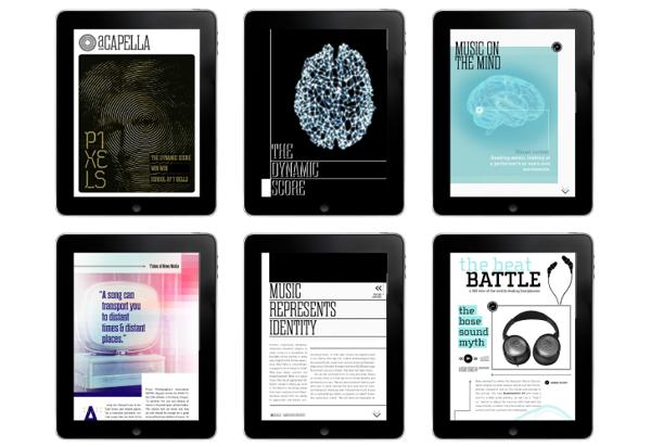 aCapella Ipad Magazine by Lizzy Showman, via Behance