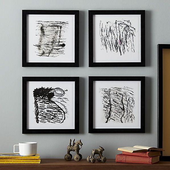 set of 4 inkscapes framed prints cb2