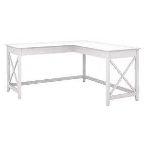 Bush Furniture Key West 60w L Shaped Desk In Pure White Oak In 2020 Bush Furniture L Shaped Desk White L Shaped Desk