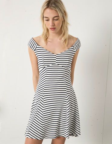 Bershka United Kingdom - Bershka striped print dress
