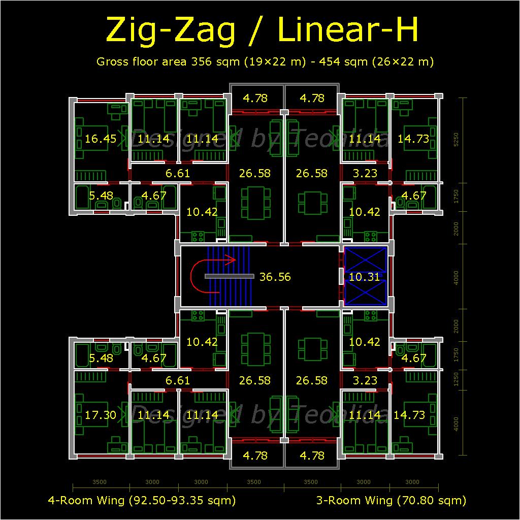 H Shaped Block Floor Plan With 4 Units Per Floor Apartment Plans How To Plan Apartment Floor Plans