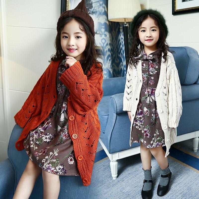Вязание длинным осеннее пальто для девочек белый Orange ...