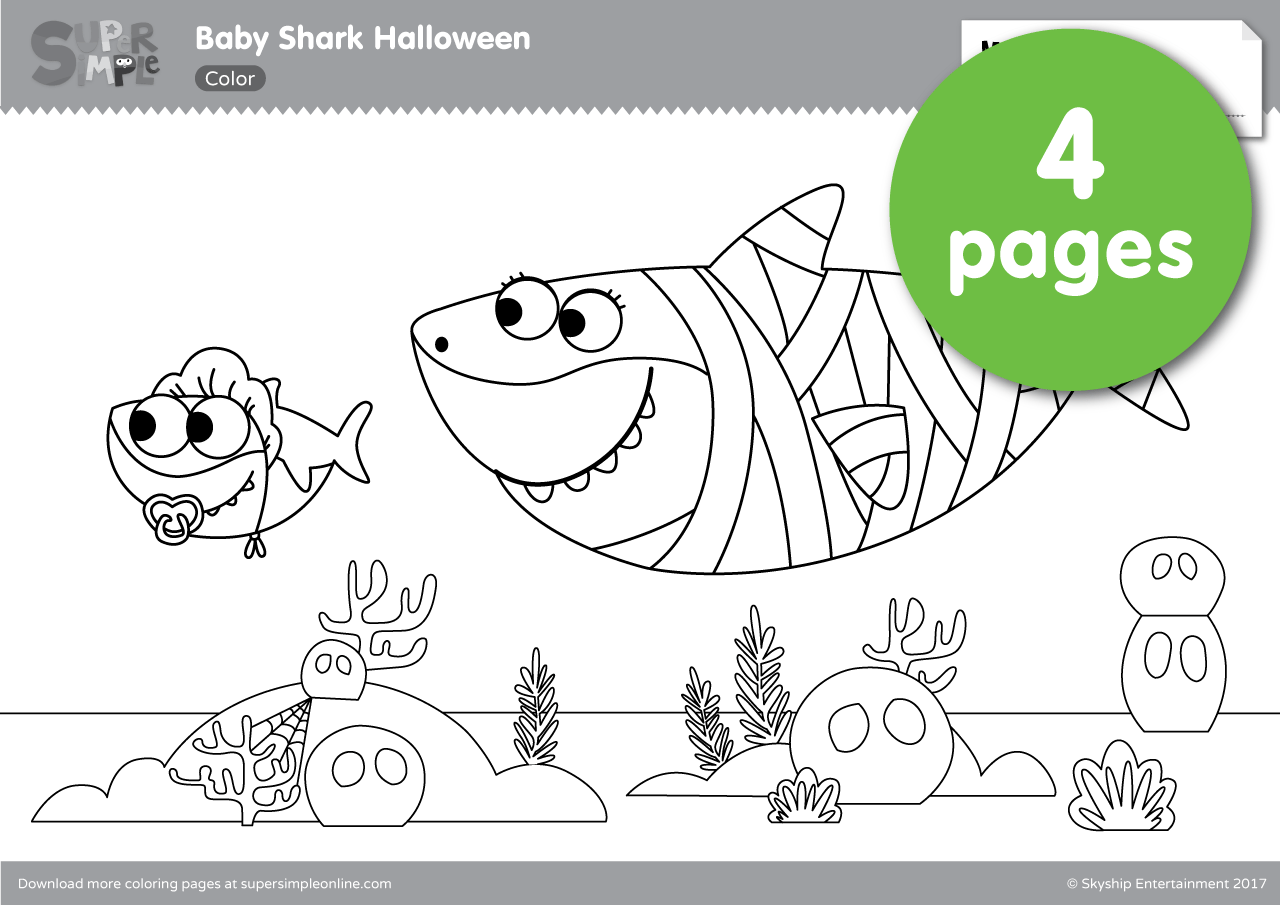 Baby Shark Halloween Coloring Pages - Super Simple | Shark coloring pages,  Shark halloween, Halloween coloring pages