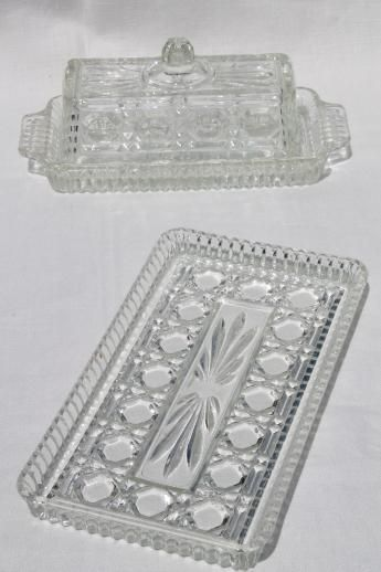 Windsor Pattern Pressed Glass Butter Dish Relish Tray Vintage Indiana Glass Indiana Glass Glass Dishes Relish Trays
