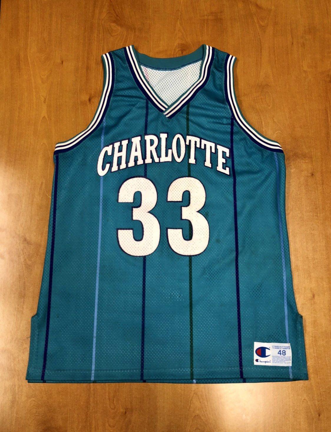 12a2fbf2008 Vintage 1995 Alonzo Mourning Charlotte Hornets Prototype Authentic Champion  Jersey Size 48 larry johnson michael jordan kemba walker nba by ...