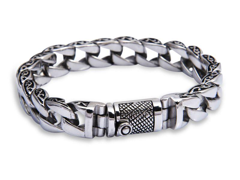 bc0c3b43fc9e 925 joyería de plata esterlina sólida para hombre pulsera de cadena ...