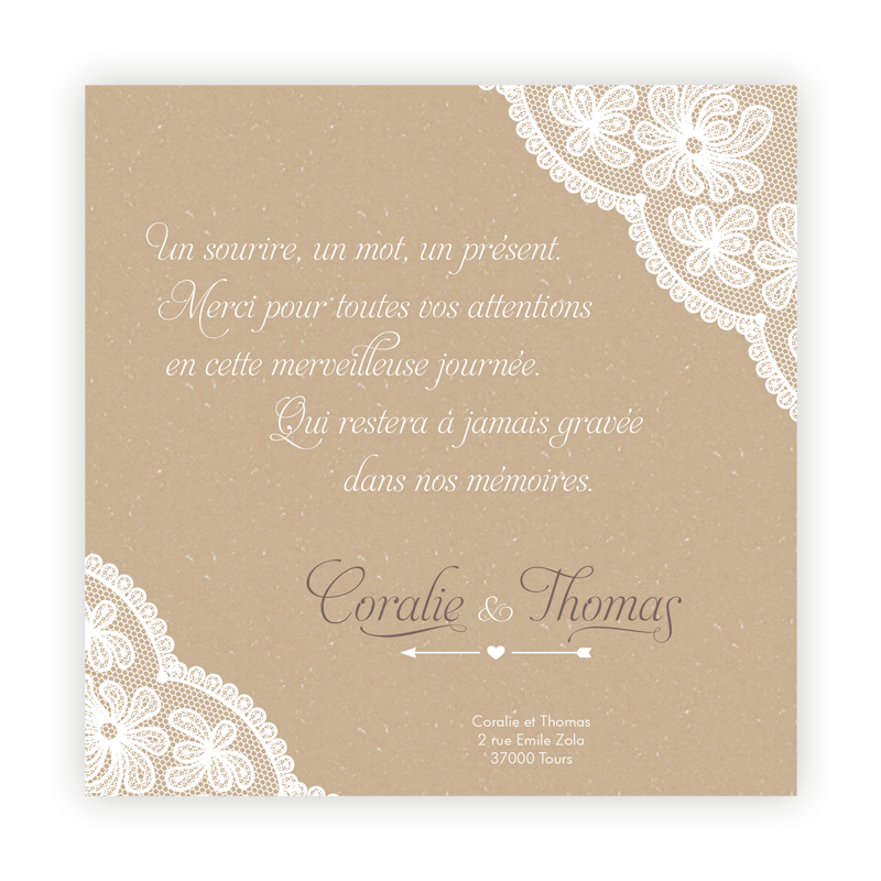 carte de remerciement mariage effet nappe dentelle camel mariage kraft pinterest carte. Black Bedroom Furniture Sets. Home Design Ideas