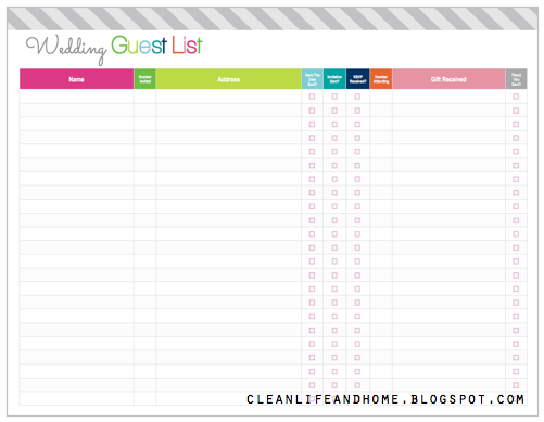 Freebie Friday Printable Wedding Guest List And Checklist  Guest