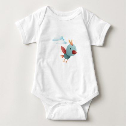 #cute #baby #bodysuits - #Cute Bird with Clouds Baby Bodysuit