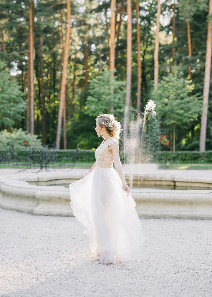 Bride in a short sleeve wedding dress | fabmood.com #wedding #weddingideas #weddingdress