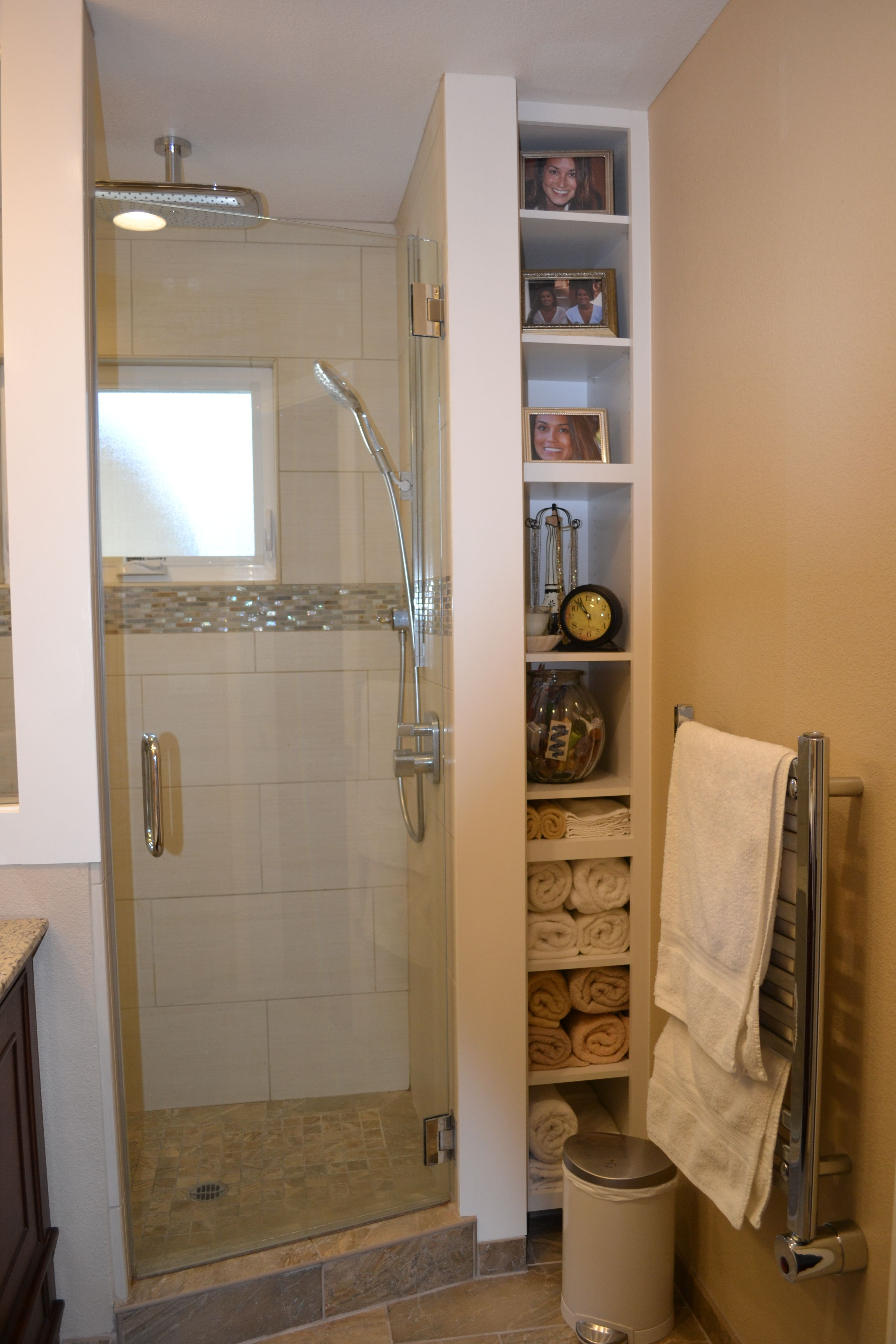 Small Master bath/shower. Rain shower and hand held body spray by ...