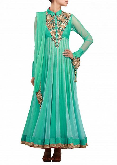 Alternate sea green and light blue anarkali suit with antique embroidery by Kalki