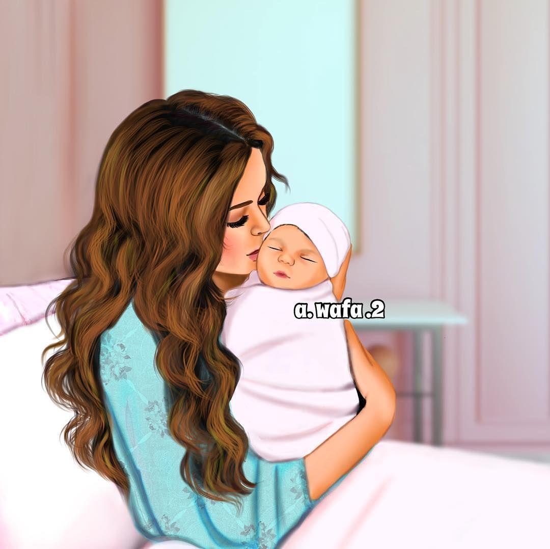 عسى السعادة تسكن قلب امييي وترويه وعسى البسمة ماتفارق شفاتها رسمتي رايكم يهمني Wafa Draw Mother Daughter Art Baby Girl Drawing Mother Art