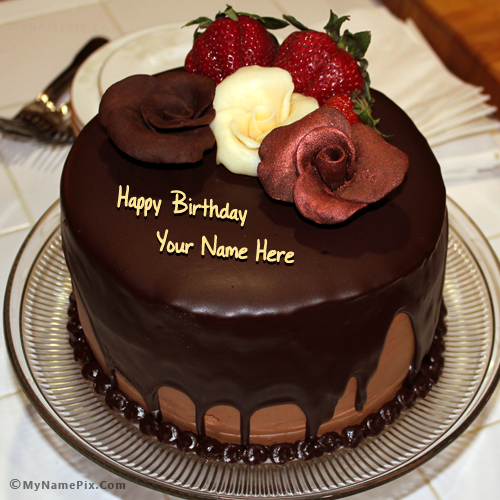 Chocolate Birthday Cake With Rose_name_pix_a