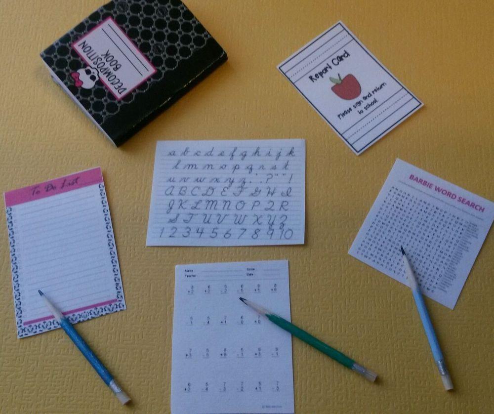 Monster High Notebook Barbie size School Dollhouse Miniature Accessories Lot in Dolls & Bears   eBay