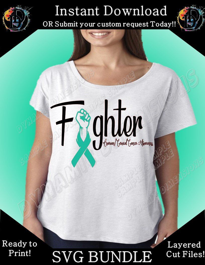 03180420 Excited to share this item from my #etsy shop: Cervical/Ovarian Awareness  SVG - Find a cure - Survivor - Fighter - dxf - Cut file - Silhouette -  Cricut ...