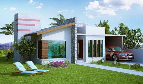 Grandiosas fotos de fachadas de casas bonitas de un piso for Casa minimalista 80 metros