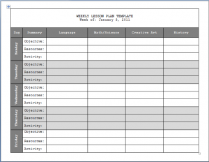 Weekly Lesson Plan Template  Format  Template  Classrooms