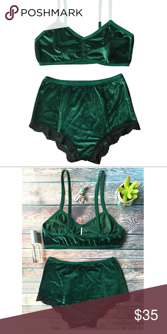 High waisted pinup vintage velvet lingerie set Super soft dark green velvet  high waisted panties with black trim and stretch bra. Size small brand new. 896ac2144