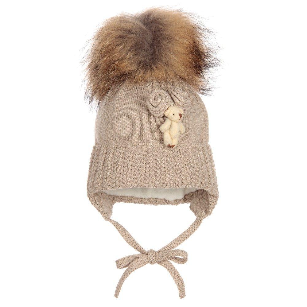 Jamiks - Baby Girls Beige Fur Pom-Pom Hat  0b50c28eb1c3