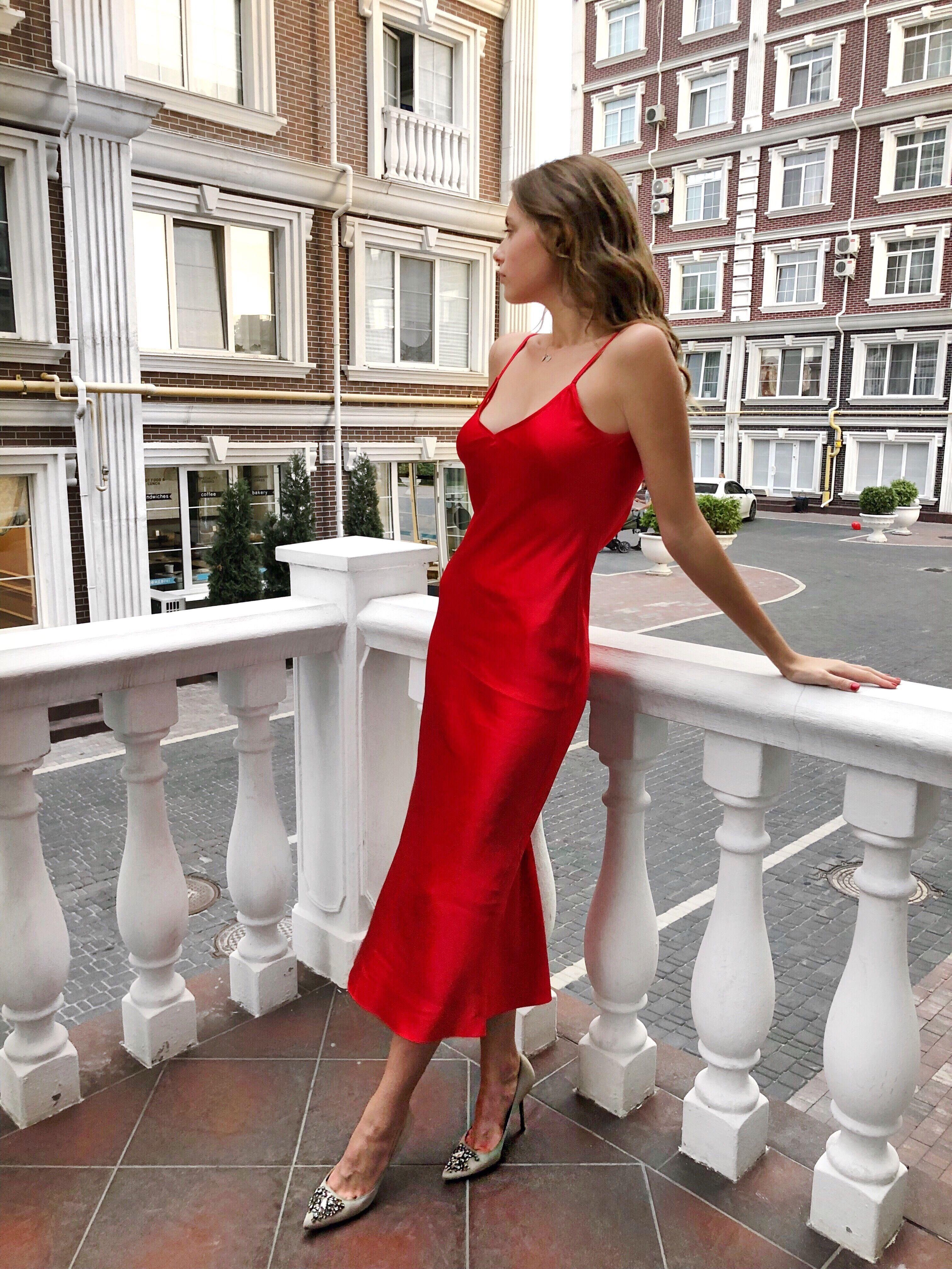 e699282a094 Silk bias red slip dress Silk slip Silk camisole Red silk dress ...