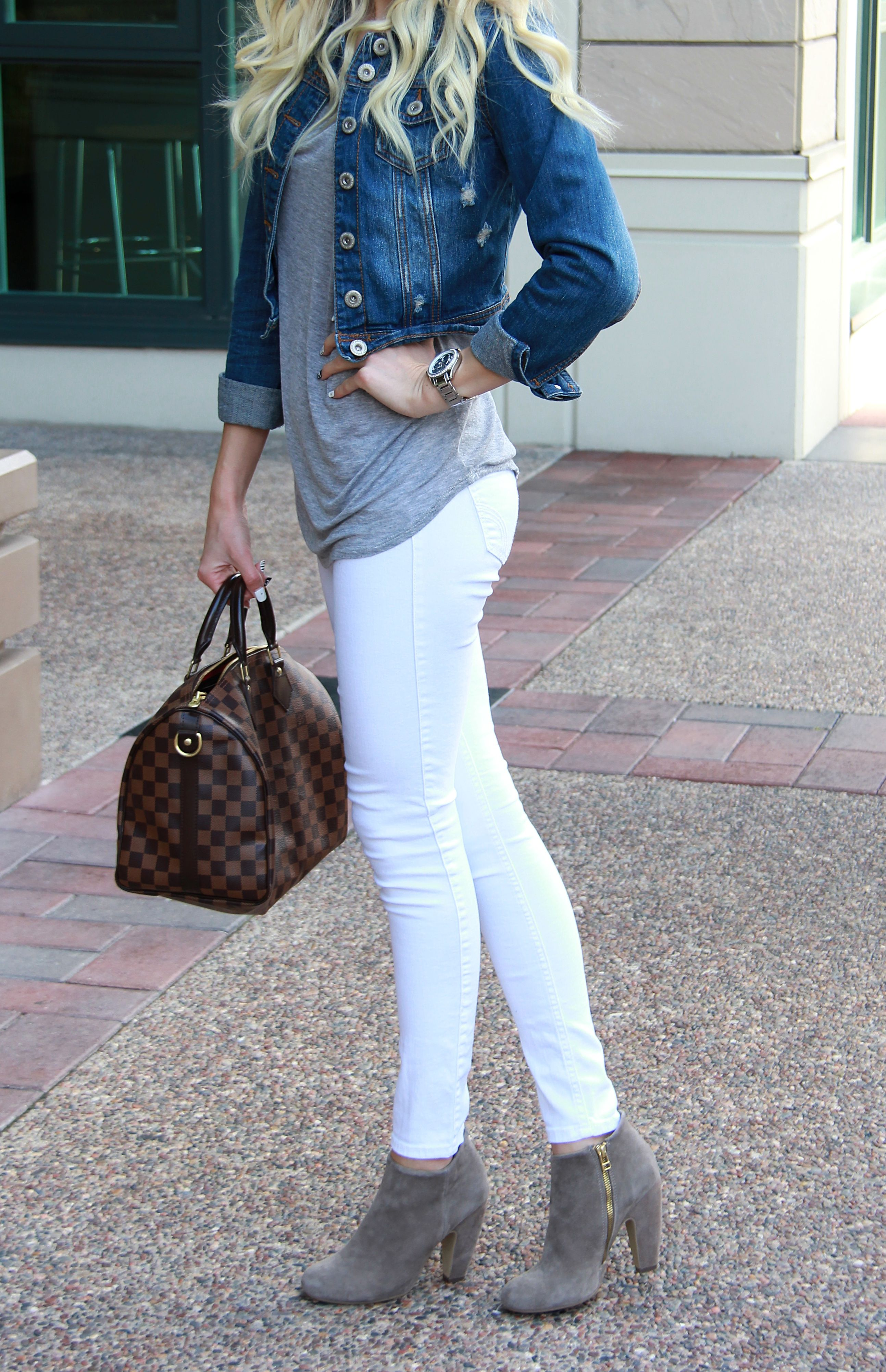 6645826fa8020a those grey booties though; Jean Jacket + White Jeans + Grey Booties ...