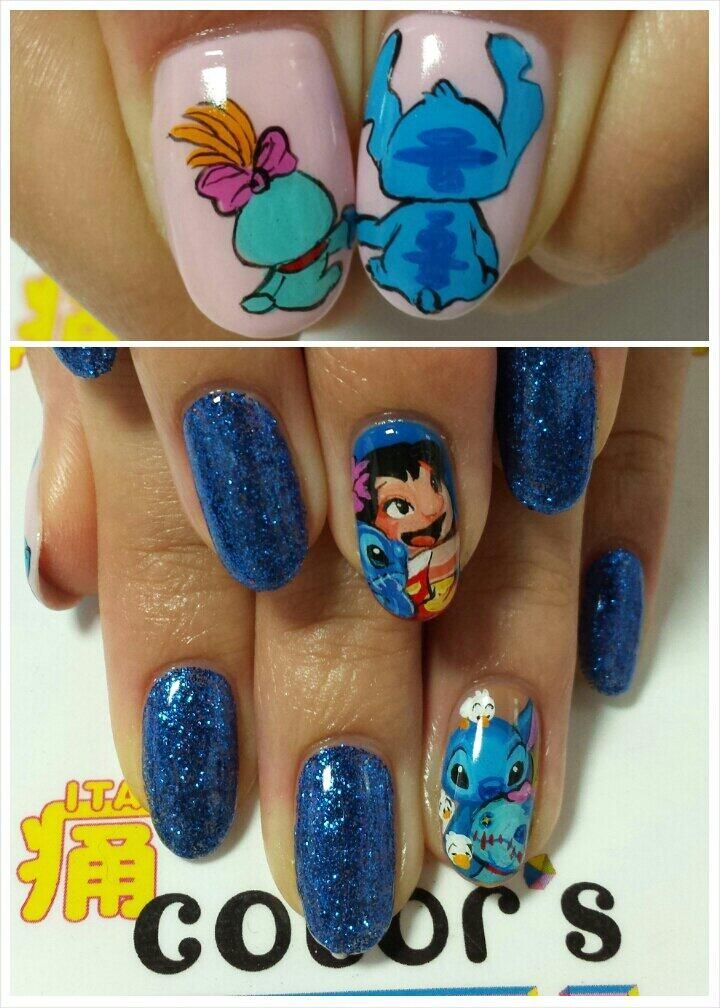 Lilo Stitch Character Nail Art Never Gonna Happen But I Love It None The Less Disney Acrylic Nails Disney Nails Nail Art Disney