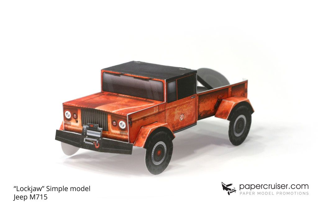 """Lockjaw"" simplified Jeep M715 paper model promo for Big Tire Garage"