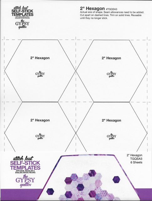 "2"" Hexagon Stitch Fast Self-Stick Templates"