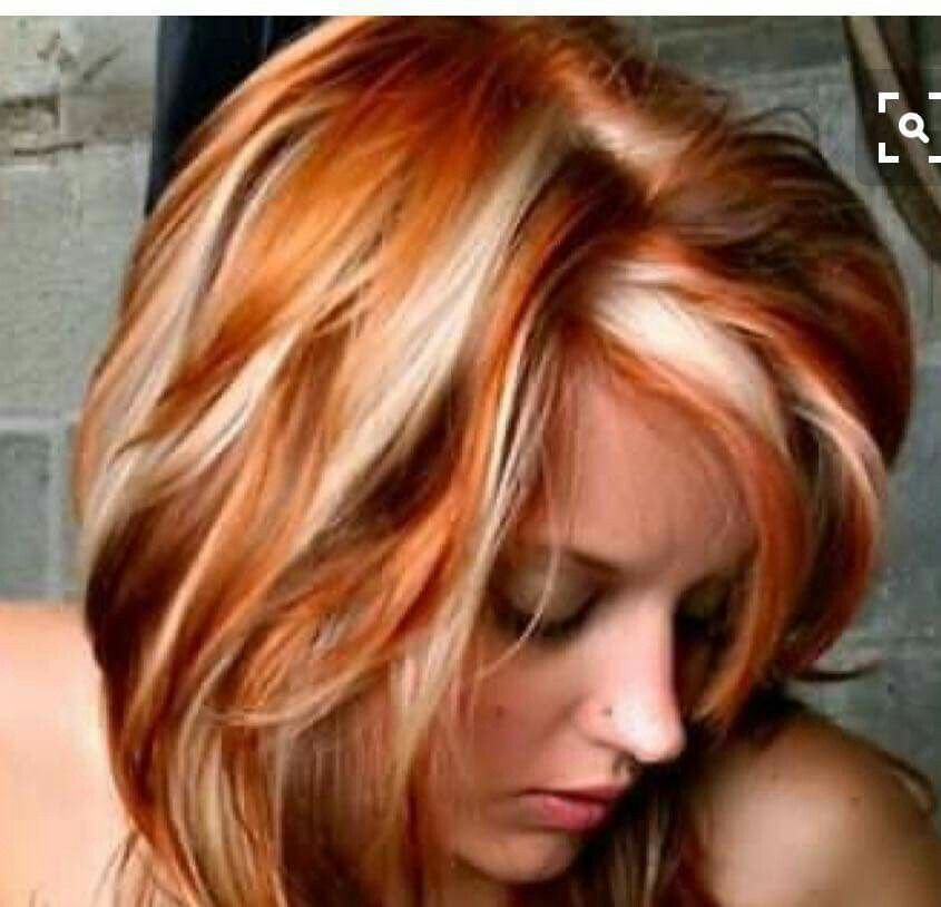 Not This Contrast Red Hair With Blonde Highlights Red