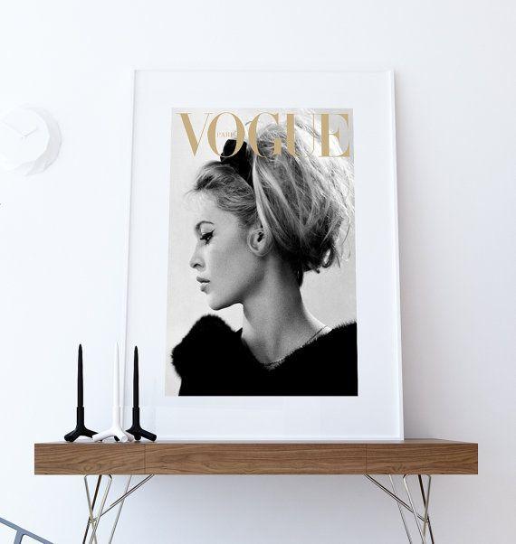 Vogue poster. Vintage Vogue cover. Brigitte Bardot poster. Printbare poster van de mode. Brigite Bardot dekking afdrukken