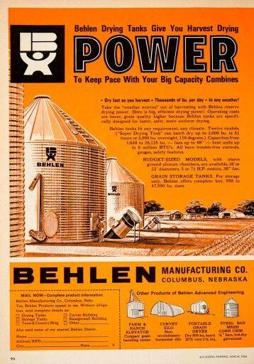1966 Ad Behlen Manufacturing Columbus Nebraska Grain Tank Farming Silo Grain