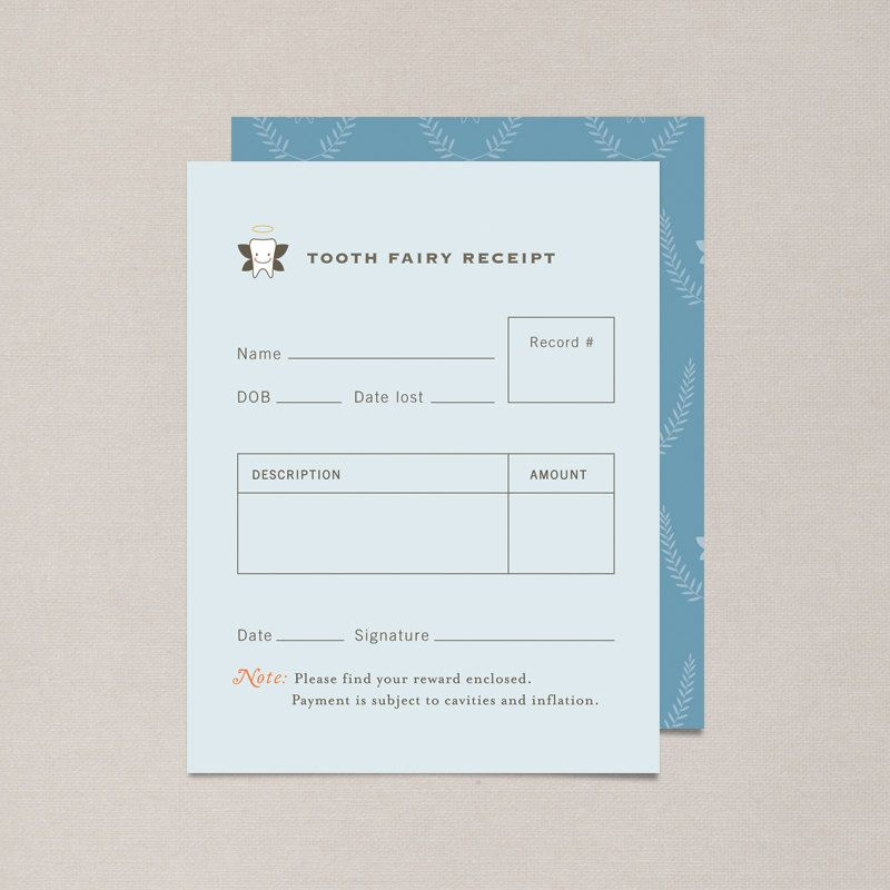 Blue DIY Printable Tooth Fairy Receipt $300, via Etsy things - printable receipts for payment