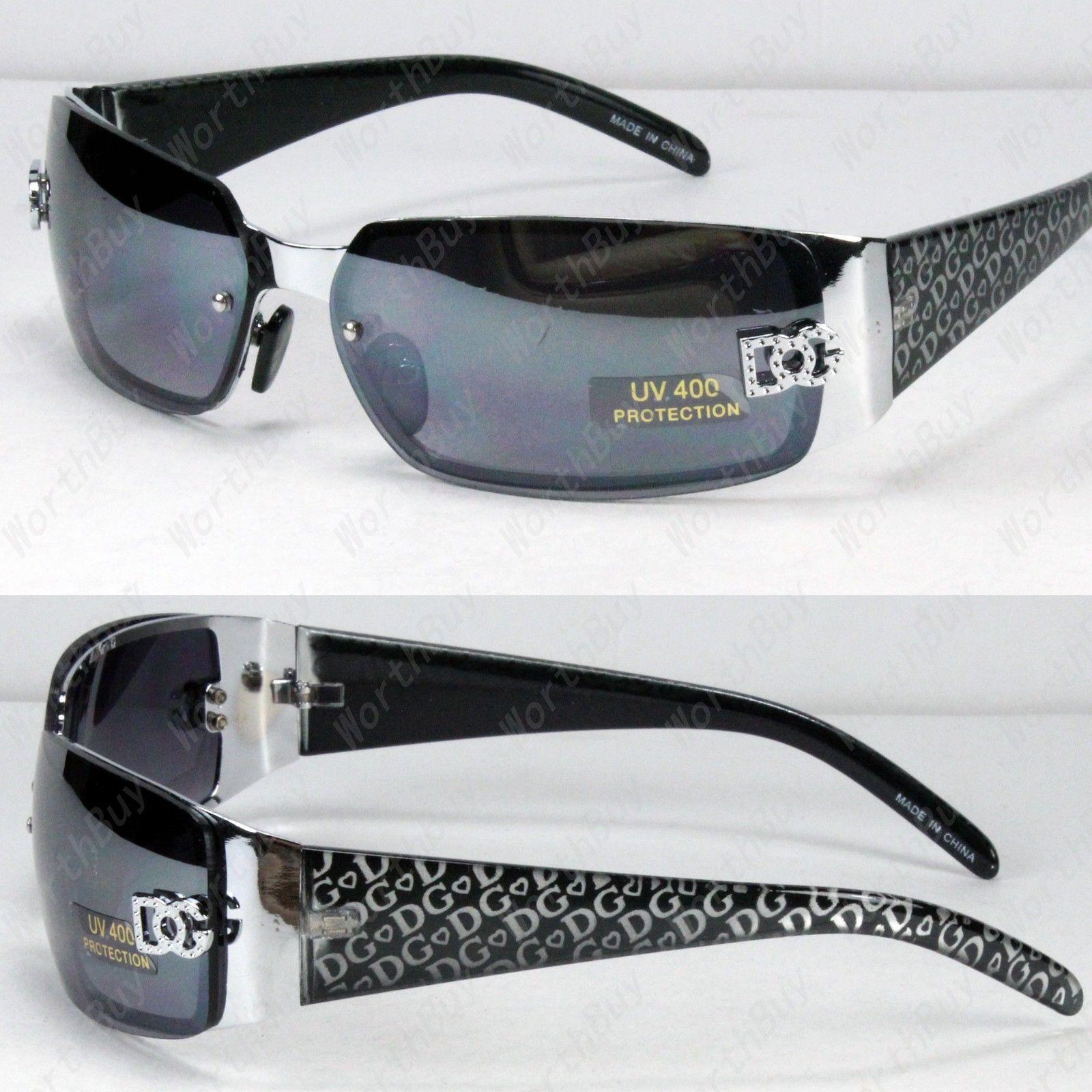 451a8c5a4b Dg Eyewear Womens Fashion Designer Sunglasses Shades Black Silver Around.  US-DEALS New DG Eyewear Womens Wrap Rectangular ...
