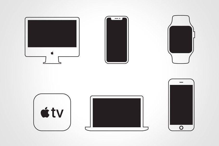Apple Device Icons Vectors Apple Mac Mini Devices