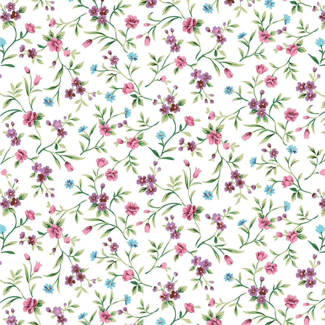 Papel De Parede Floral Ros , Azul, Roxo, Galhos E Folhas