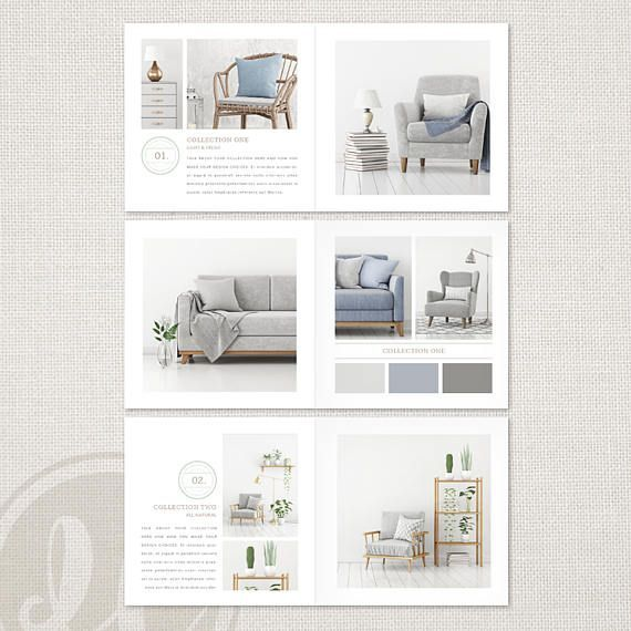 Interior Design Lookbook Template, INSTANT DOWNLOAD, Square Magazine Template, Portfolio Template