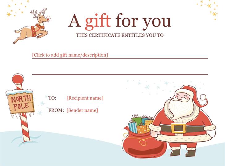 Beautiful Free Christmas Gift Certificate Template Dotx Pdf Page Map Holiday Travel  Holidaymapq Ideas