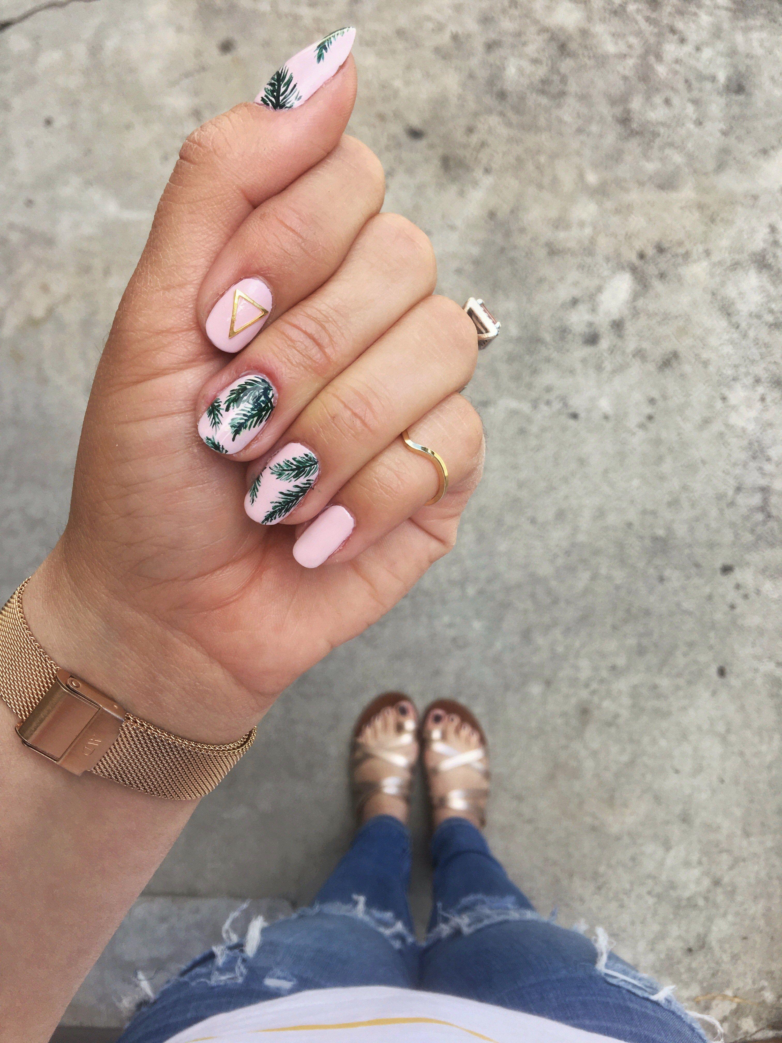 Tropical Palm Print Nail ArtBeauty Nail Art essie julep nail art ...