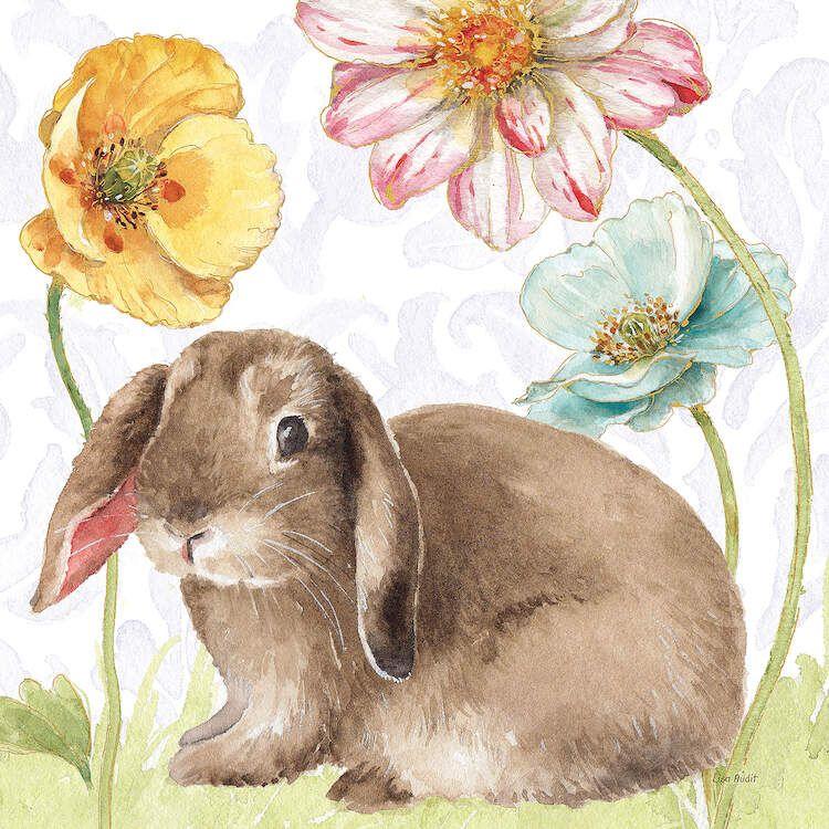 Spring Softies Bunnies III Purple - Canvas Print