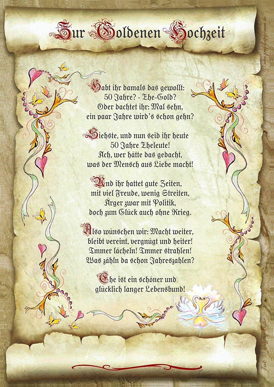Geschenk Goldene Hochzeit Urkunde Gedicht Prsent Jubilum