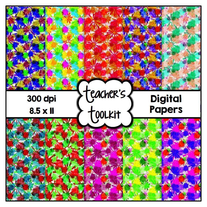 $ #Flower Power #Digital #Papers {8.5 x 11} #Clip Art CU OK