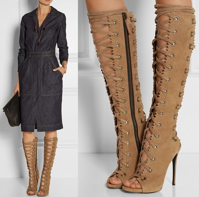 On Sale suede Thigh High Boots Tall gladiator Sandals Summer Cage ...
