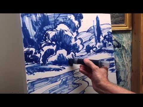 Landscape Painting Tutorial , part 1 of 4 - YouTube