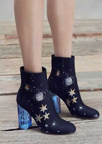 shoes galaxy print space stars blue shoes navy mid heel boots science valentino magic