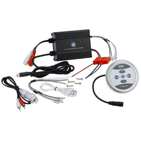 Pyle Compact BT Marine Amplifier Kit - Waterproof Rated 2-Channel