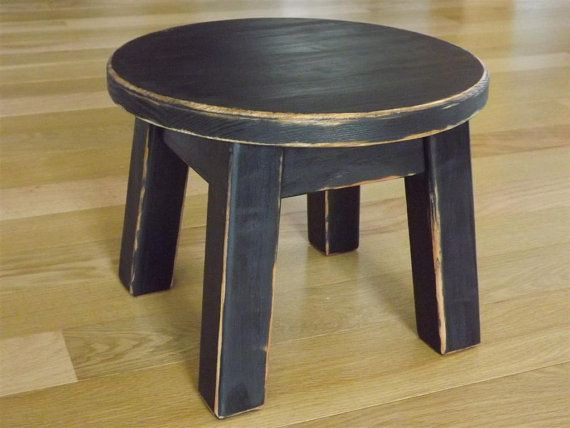Round Top Wood Riser Reclaimed Step Stool Painted