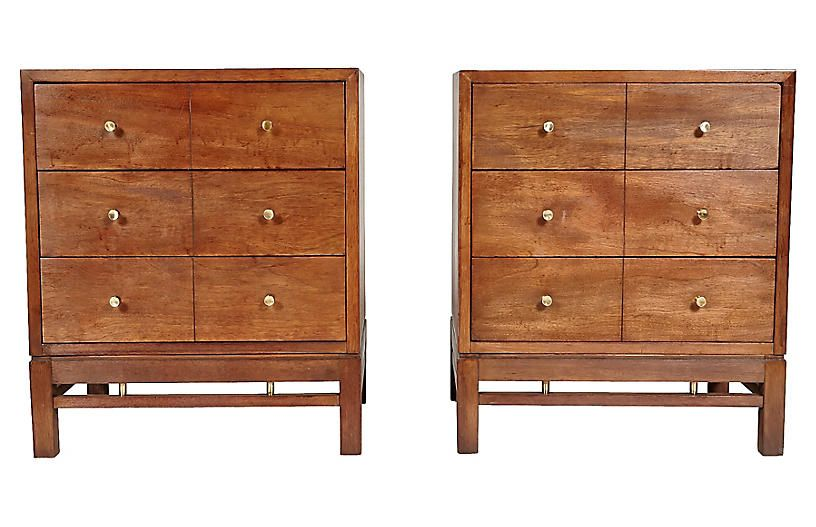 Incroyable 1960s Walnut U0026 Brass Nightstands   Set Of 2   2 B Modern