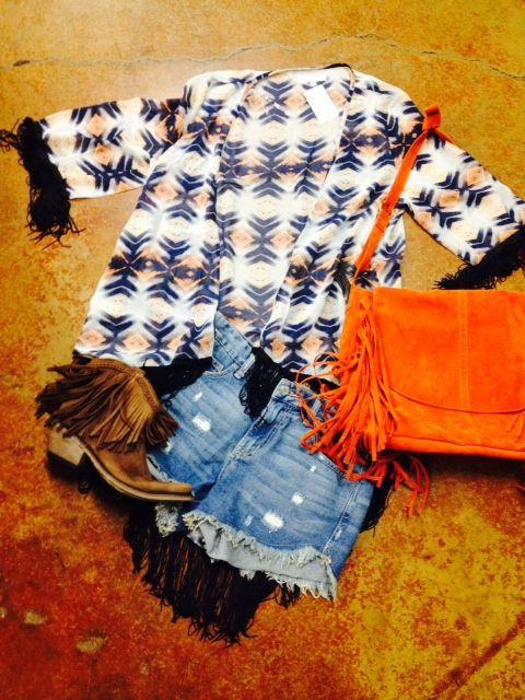 Aztec Fringe Kimono, Denim Shorts, Fringe Booties
